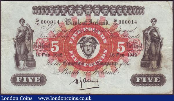 Northern Ireland, Bank of Ireland £5 dated 16th February 1942 first series low number with the Adams signature  S/16 000014, Pick52c (Blake & Callaway BA 99), cleaned & pressed, Fine : World Banknotes : Auction 151 : Lot 436