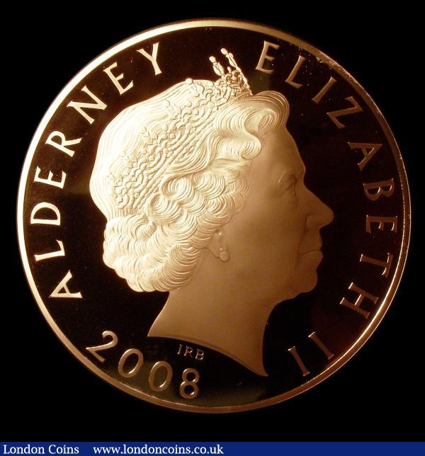 "Alderney £1,000 2008 Gold Proof (1,091 grams of 22 carat so contains 1 kilo of pure gold) stunning 100 mm diameter Rank Broadley Queen Elizabeth II portrait obverse , Prince Charles reverse cased FDC with certificates and plaque ""Alderney 2008 The Prince of Wales Gold Kilo Coin No 10"" so the 10th struck of an issue limit of only 30, extremely rare thus and the first one we have seen : World Cased : Auction 151 : Lot 762"