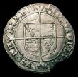 London Coins : A152 : Lot 2041 : Shilling Elizabeth I Second Issue S.2555 mintmark Cross Crosslet VF with a section of the flan missi...