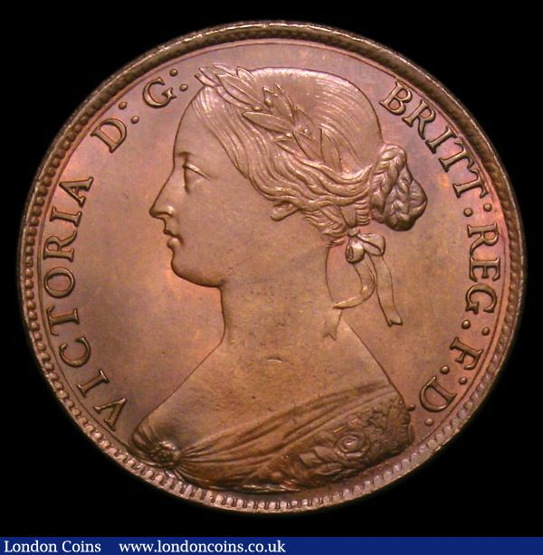 Penny 1861 Freeman 22 dies 4+D UNC the obverse with a slightly uneven by not attractive tone, the reverse with good subdued lustre and a tone spot by ONE, Ex-Croydon Coin Auction 30/11/1999 hammer price £50 : English Coins : Auction 152 : Lot 2377