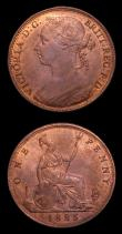 London Coins : A152 : Lot 2502 : Pennies (2) 1885 Freeman 121 A/UNC with traces of lustre, Ex-J.Welsh 29/7/1998 £40, 1886 Freem...