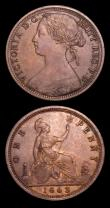 London Coins : A152 : Lot 2519 : Pennies 1863 (2) Freeman 42 dies 6+G the first EF with some toning, Ex-W.Nicholls 16/1/1995 £1...