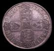 London Coins : A152 : Lot 2862 : Halfcrown 1713 Plain in angles ESC 583 GVF/NEF toned with some contact marks, and tiny scratches in ...