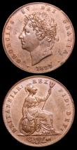 London Coins : A152 : Lot 2991 : Halfpennies (2) 1826 Reverse A Peck 1433 GEF with traces of lustre, 1827 Peck 1438 About EF/EF the o...