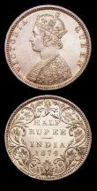 London Coins : A153 : Lot 1030 : India Half Rupees (2) 1862 Calcutta Mint Obverse C Reverse II KM#472 UNC and lustrous with a small t...