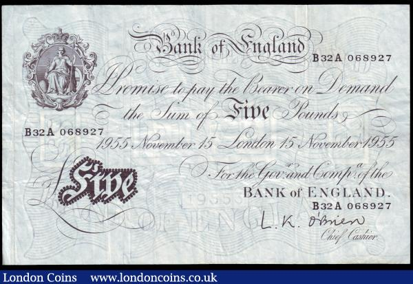 Five pounds O'Brien white B276 dated 15th November 1955, series B32A 068927, Pick345, surface dirt reverse, Fine+ : English Banknotes : Auction 153 : Lot 180