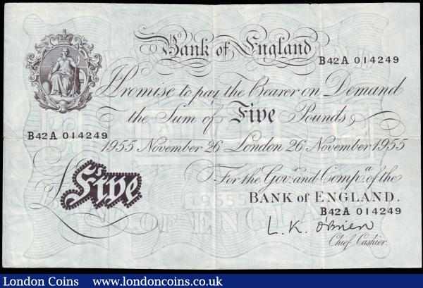 Five pounds O'Brien white B276 dated 26th November 1955, series B42A 014249, Pick345, almost VF : English Banknotes : Auction 153 : Lot 188