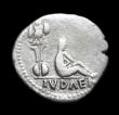 London Coins : A153 : Lot 2085 : Ar denarius.  Vespasian.  C, 69-70 AD  Rome.  Rev;   IVDAEA in exergue, trophy; to right, Judaea sea...