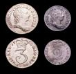 London Coins : A153 : Lot 2251 : Maundy a 3-part set 1763 Fourpence ESC 1908 EF/NEF, Threepence ESC 2034 EF, Twopence ESC 2238 A/UNC ...