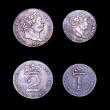 London Coins : A153 : Lot 2262 : Maundy Set 1818 ESC 2423 an assembled set Fourpence NEF/GVF, Threepence NEF toned, Twopence GVF with...