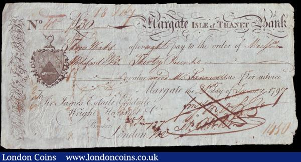 Margate Isle of Thanet Bank 3 weeks sight note dated 1797 series No.40 for £30 signed Francis Cobb & Son, ink cancelled, Fine  : English Banknotes : Auction 153 : Lot 238