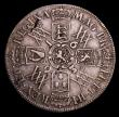 London Coins : A153 : Lot 2926 : Halfcrown 1693 3 over inverted 3 in date ESC 521 Fine with a flan flaw on the reverse