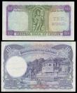 London Coins : A153 : Lot 296 : Ceylon 10 Rupees (2) 1951 Pick 48 L/15 300643 Near EF, 10 Rupees 4/8/1943 issue Pick 36A VF, pressed...
