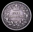 London Coins : A153 : Lot 3291 : Shilling 1854 ESC 1302 Near Fine/About Fine, with dark tone, an even and collectable of this rare da...