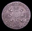 London Coins : A153 : Lot 3358 : Sixpence 1705 Plumes, Early Shields ESC 1584 Good Fine, the coin unusually well struck for this type...