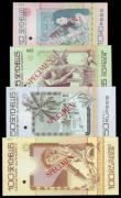 London Coins : A153 : Lot 411 : Seychelles (4) Monetary Authority SPECIMENS No.095, 10 rupees, 25 rupees, 50 rupees all series A0000...