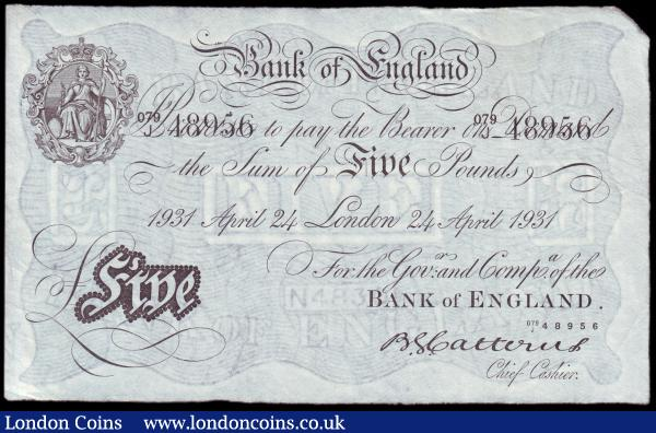Five pounds Catterns white B228 dated 24th April 1931 series 079/J 48956 Pick328a, GVF : English Banknotes : Auction 153 : Lot 55