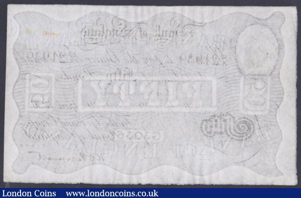 Fifty pounds Peppiatt white B244d dated 29th April 1936 series 82/X 21939, LEEDS branch, 1 pinhole & faded inked number top right, cleaned & pressed, (ex-Colin Narbeth & Sons), about VF but looks a lot better, an extremely rare branch issue : English Banknotes : Auction 153 : Lot 99