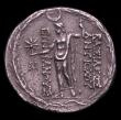 London Coins : A154 : Lot 1560 : Syria, Seleukid Kingdom Tetradrachm Demetrios I (162-150BC) Obv Bust right, Reverse Zeus standing ho...