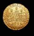 London Coins : A154 : Lot 1719 : Triple Unite 1643. Oxford mint. Charles I  Mint mark plume with bands, on obverse only. S2727. North...