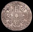 London Coins : A154 : Lot 1726 : Crown 1666 XVIII ESC 32 Good Fine, some nicks and scratches, and some light corrosion from 12 o&#039...