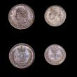 London Coins : A154 : Lot 2331 : Maundy Set 1822 ESC 2425 Fourpence NEF, Threepence GF toned, Twopence and Penny A/UNC to UNC with ma...