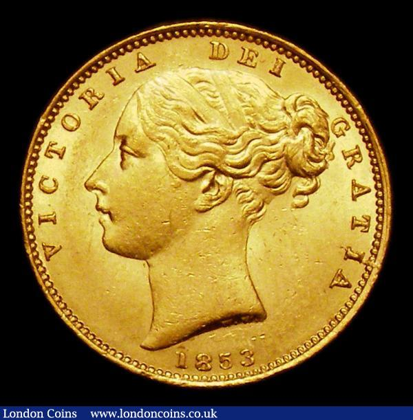 Sovereign 1853 WW Raised S.3852C UNC and lustrous, the obverse with some contact marks : English Coins : Auction 154 : Lot 2837