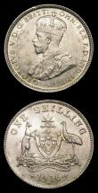 London Coins : A154 : Lot 716 : Australia (2) Florin 1918M KM#27 GEF/AU and attractively toned with a couple of thin scratches below...