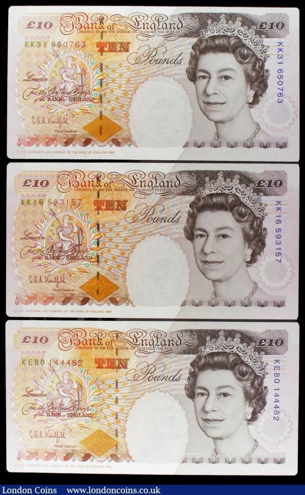 Ten Pounds Kentfield B369 (3) issued 1993, mid series KE80 and last series KK16 and KK31, GEF or better : English Banknotes : Auction 154 : Lot 84