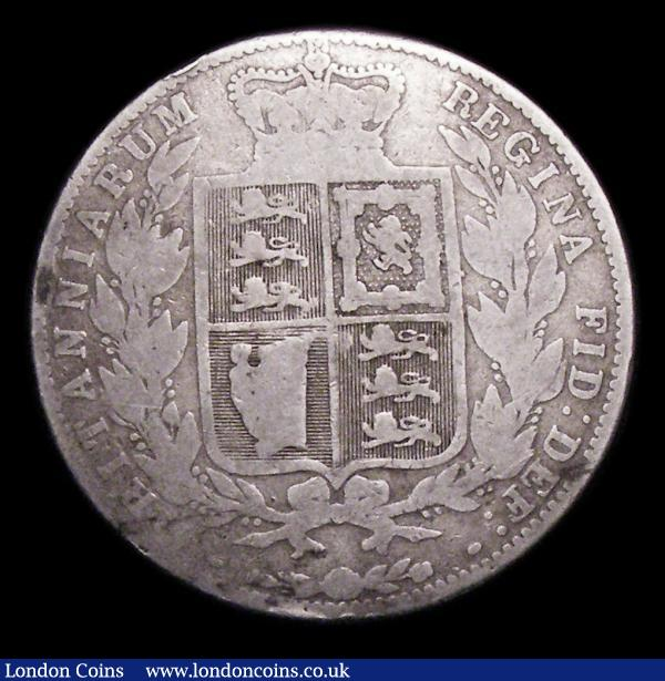 "Halfcrown 1861 Fair, one of the 'missing' dates in the Young Head Halfcrown series, mentioned by way of footnote in ESC by Rayner in the 1969 edition who had heard of an example sold in a ""Northern"" auction in Fair in 1967 for £115. Reported as unrecorded in Royal Mint striking records, more recent opinion is that these are regarded as later forgeries struck around 1887 from worn dies, as the head types are incorrect for the period : English Coins : Auction 155 : Lot 1020"