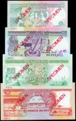 London Coins : A155 : Lot 1981 : Seychelles (4) SPECIMENS No.0302, 10 rupees, 25 rupees, 50 rupees & 100 rupees, all issued 1989 ...