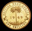 London Coins : A156 : Lot 1117 : British West Africa Shilling 1949 VIP Proof/Proof of record, KM#28, FT29A UNC with some toning,  ret...