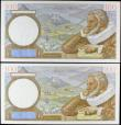 London Coins : A156 : Lot 144 : France 100 francs (2) both dated 9-1-1941, a consecutively numbered pair series K.17737 303 & K....