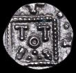 London Coins : A156 : Lot 1675 : Anglo-Saxon Continental Ar Sceat.  C, 695-740.  Series E.  Obv; Degenerated head.  Rev; Standard, TO...