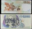 London Coins : A156 : Lot 199 : Italy (2) 500000 Lire 1997 issue Pick 118 CA642317A UNC, 100000 Lire 1994 issue Pick 117 UNC, both s...
