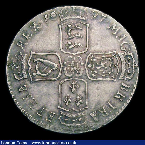 Halfcrown 1697N First Bust, Large Shields ESC 550 VF with some light contact marks, struck slightly off-centre, some of the reverse legend weakly struck : English Coins : Auction 156 : Lot 2180