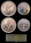 London Coins : A156 : Lot 2444 : Maundy Set 1886 ESC 2500 EF to UNC with a matching colourful tone, the Fourpence and Threepence with...