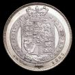 London Coins : A156 : Lot 2653 : Shilling 1825 Shield in Garter ESC 1253 UNC and lustrous, the obverse with a light golden tone in th...