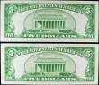 London Coins : A156 : Lot 432 : USA Silver Certificate $5 (2) dated 1934,  a consecutive pair series B21048375A & B21048376A, Pi...