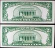London Coins : A156 : Lot 433 : USA Silver Certificate $5 (2) dated 1934, a consecutive pair series C89196042A & C89196043A, Pic...