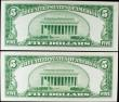 London Coins : A156 : Lot 434 : USA Silver Certificate $5 (2) dated 1934A, a consecutive pair series H89139929A & H89139930A Pic...