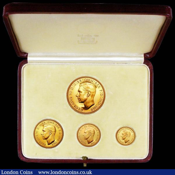 Proof Set 1937 (4 coins) Five Pounds to Half Sovereign FDC or near so with a few hairlines and light toning, in the original case of issue, case in very good condition, a pleasing set and certainly a lot better than average for grade : English Cased : Auction 156 : Lot 507