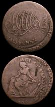 London Coins : A156 : Lot 737 : Halfpennies 18th Century (2) Ireland Camac 1792 mis-struck both strikes about 3mm apart VG, Cheshire...