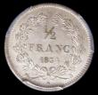 London Coins : A157 : Lot 1409 : France Half Franc 1834B KM#741.2 in a PCGS holder and graded MS64