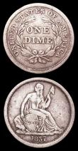 London Coins : A157 : Lot 1648 : USA (2) Dime 1837 No Stars, Large Date Breen 3217 Fine, Five Cents 1894 Breen 2555 Fine, scarce