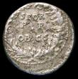 London Coins : A157 : Lot 1723 : Claudius.  Ar denarius.  C, 50-51 AD.  Rev;  SPQR / P P / OB CS within wreath. RIC 60.  Porous surfa...