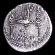 London Coins : A157 : Lot 1787 : Mark Antony.  Ar denarius.  C, 32-31 BC.  Obv;  ANT. AVG III VIR. R. P. C; praetorian galley to righ...