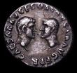London Coins : A157 : Lot 1837 : Vespasian.  Ar denarius.  C, 70 AD.  Rev;  CAESAR AVG F COS CAESAR AVG F PR; Bare heads of Titus and...