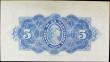 London Coins : A157 : Lot 218 : Martinique 5 Francs 1942 Issue, Blue serial number S66 291 1642291 , Pick 16b, VF with a light centr...