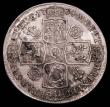 London Coins : A157 : Lot 2441 : Halfcrown 1734 Roses and Plumes ESC 597, with T of ET overstruck the underlying figure unclear,  VF ...